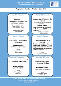 Programme de printemps pour l'Université Populaire d'Annecy